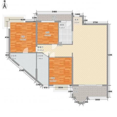 花都丽景大厦3室1厅2卫1厨186.00㎡户型图