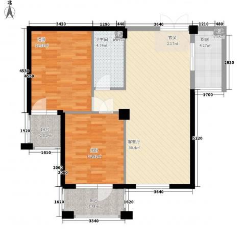 中海华庭别墅2室1厅1卫1厨102.00㎡户型图