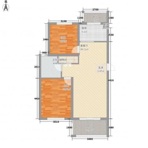 嘉都综合楼2室1厅1卫1厨105.00㎡户型图