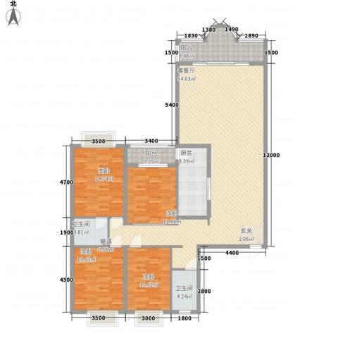 花都丽景大厦4室1厅2卫1厨201.00㎡户型图