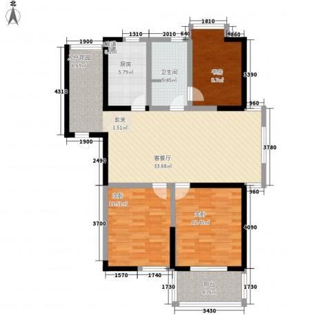 枫林雅都3室1厅1卫1厨124.00㎡户型图