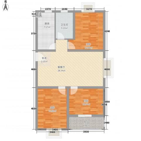 花样年华3室1厅1卫1厨117.00㎡户型图