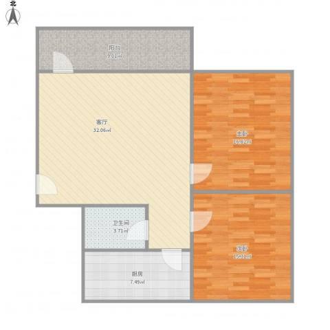 伟业楼2室1厅1卫1厨112.00㎡户型图