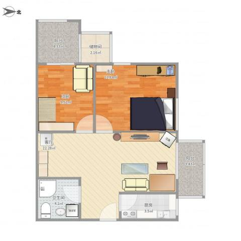 牛街西里2室1厅1卫1厨92.00㎡户型图