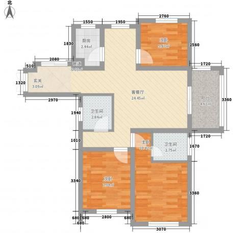 申峰花苑3室1厅2卫1厨91.00㎡户型图