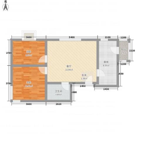 广福家园2室1厅1卫1厨87.00㎡户型图