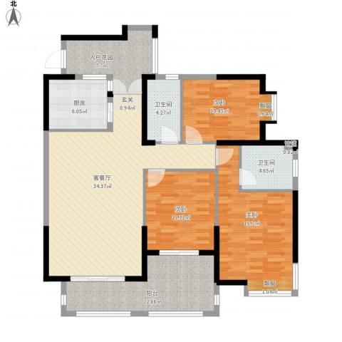 海投天湖城3室1厅2卫1厨153.00㎡户型图