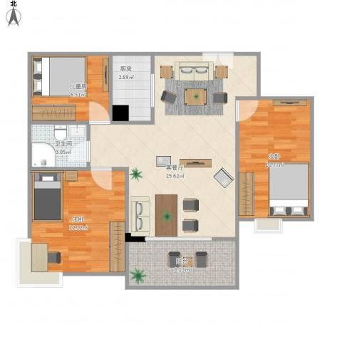 越秀星汇云锦3室1厅1卫1厨91.00㎡户型图