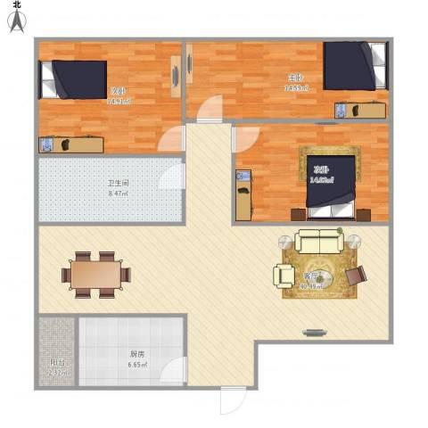 海景大厦nx034653室1厅1卫1厨136.00㎡户型图