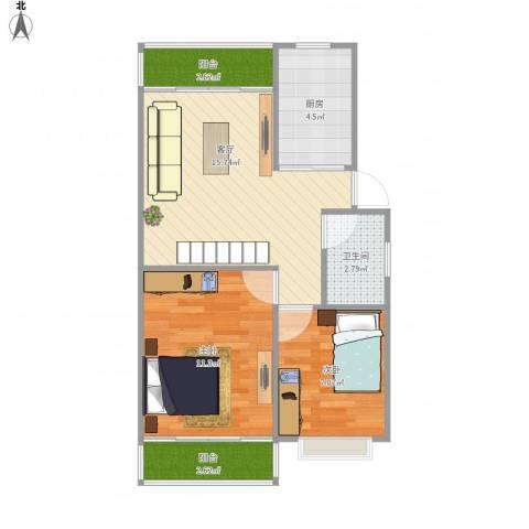 学府芳邻Y1-1F2室1厅1卫1厨64.00㎡户型图