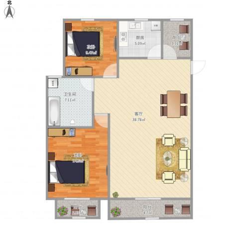 汤家锦绣公寓2室1厅1卫1厨114.00㎡户型图