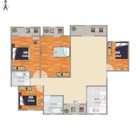 汤家锦绣公寓4室1厅2卫1厨153.00㎡户型图