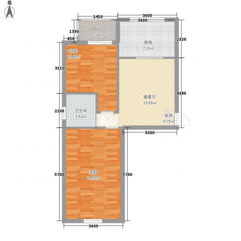 丰本金河人家6.00㎡9-12#楼户型2室1厅1卫1厨