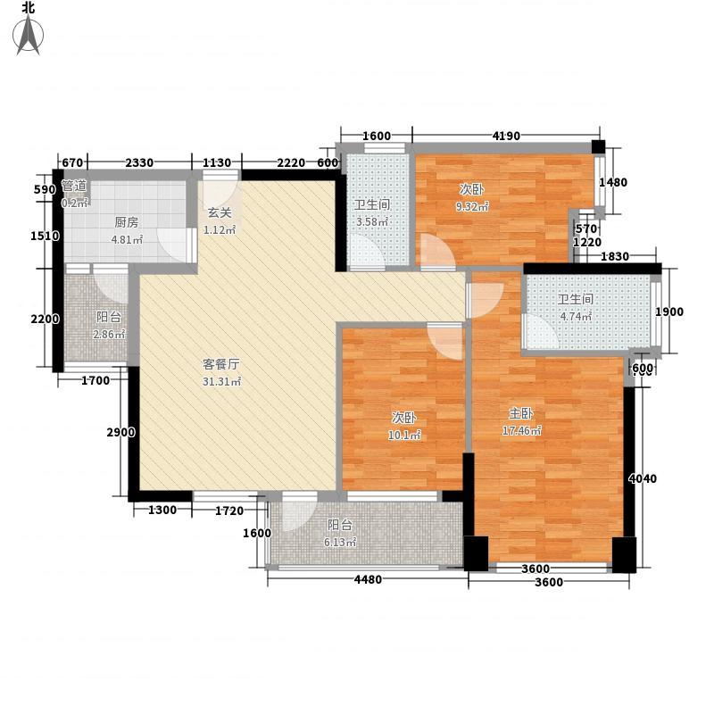 鸿翠苑111.84㎡B栋偶数层02、07单元户型3室2厅2卫