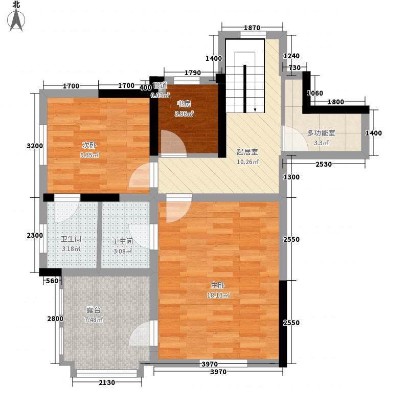 东都中央王座户型图1栋顶复01户型上层(18层) 4室2厅3卫1厨