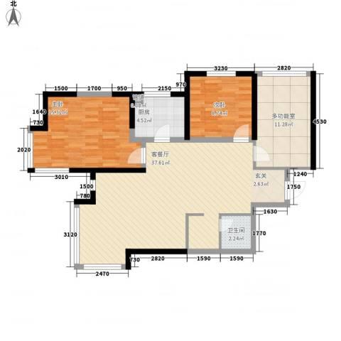 优诗美地2室1厅1卫1厨99.00㎡户型图