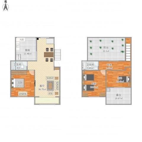 缘园小区3室1厅2卫1厨183.00㎡户型图