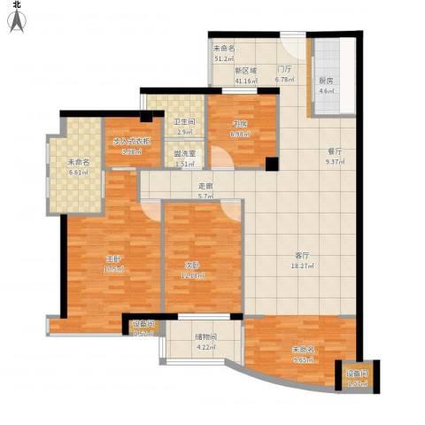 维一星城・原山苑3室1厅1卫1厨158.00㎡户型图