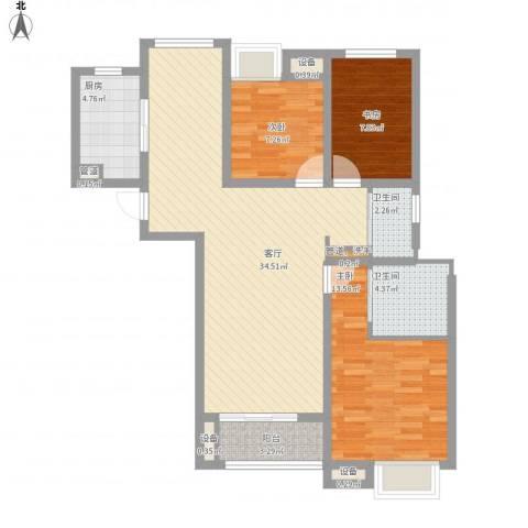 兆地尊庭3室1厅2卫1厨116.00㎡户型图