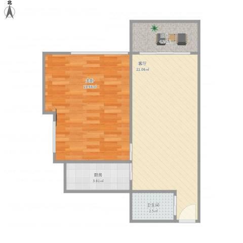 金雅苑1室1厅1卫1厨68.00㎡户型图