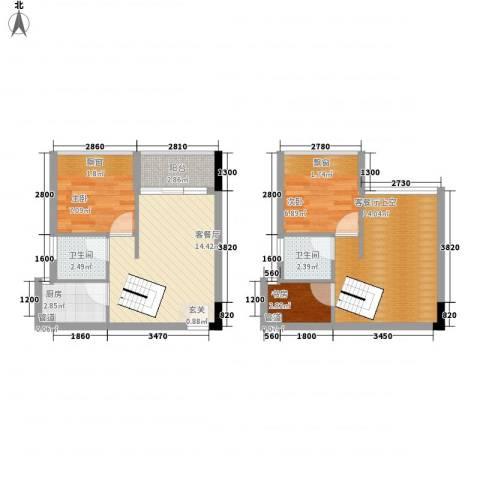 御景江山3室1厅2卫1厨82.00㎡户型图