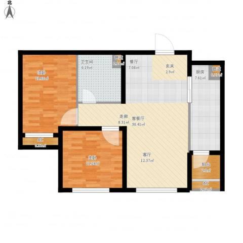 「大连天地」悦龙居2室1厅1卫1厨105.00㎡户型图