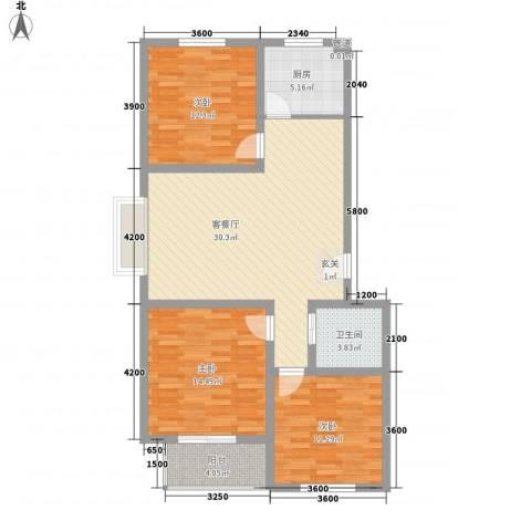七色镇3室1厅1卫1厨81.44㎡户型图
