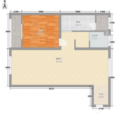 峰汇公馆1室1厅1卫1厨70.87㎡户型图