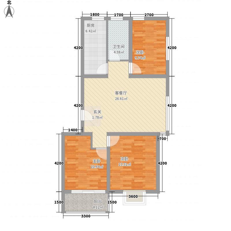 山海馨居6.64㎡4号楼B1户型3室2厅1卫1厨