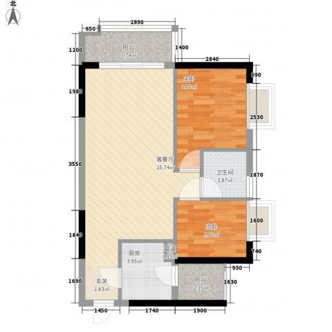 万华花园广弘叠水雨林2室2厅1卫1厨67.00㎡户型图