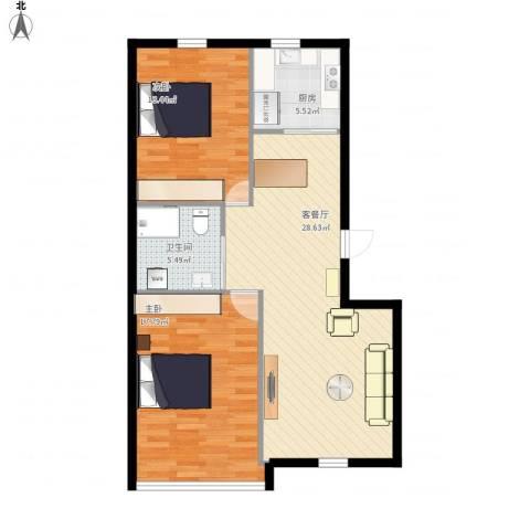 三里家园二区2室1厅1卫1厨98.00㎡户型图