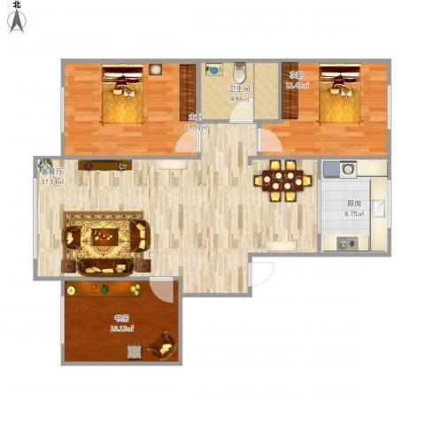 金港翠园3室1厅1卫1厨112.00㎡户型图