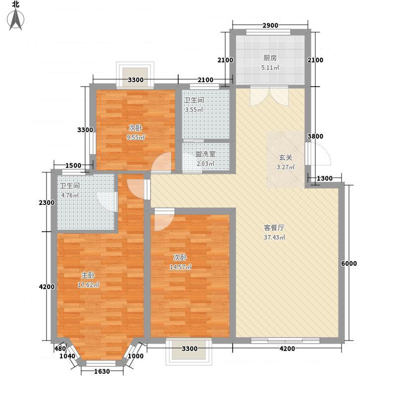 东岳花园户型3室2厅1卫1厨