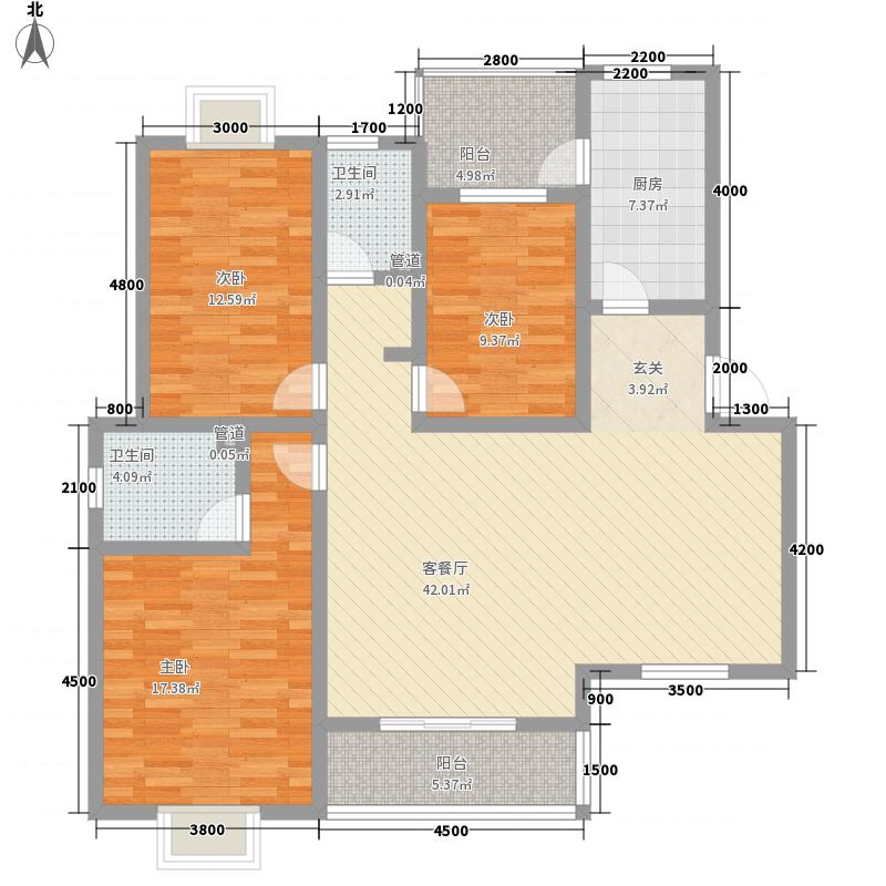 九龙花园户型3室2厅2卫1厨
