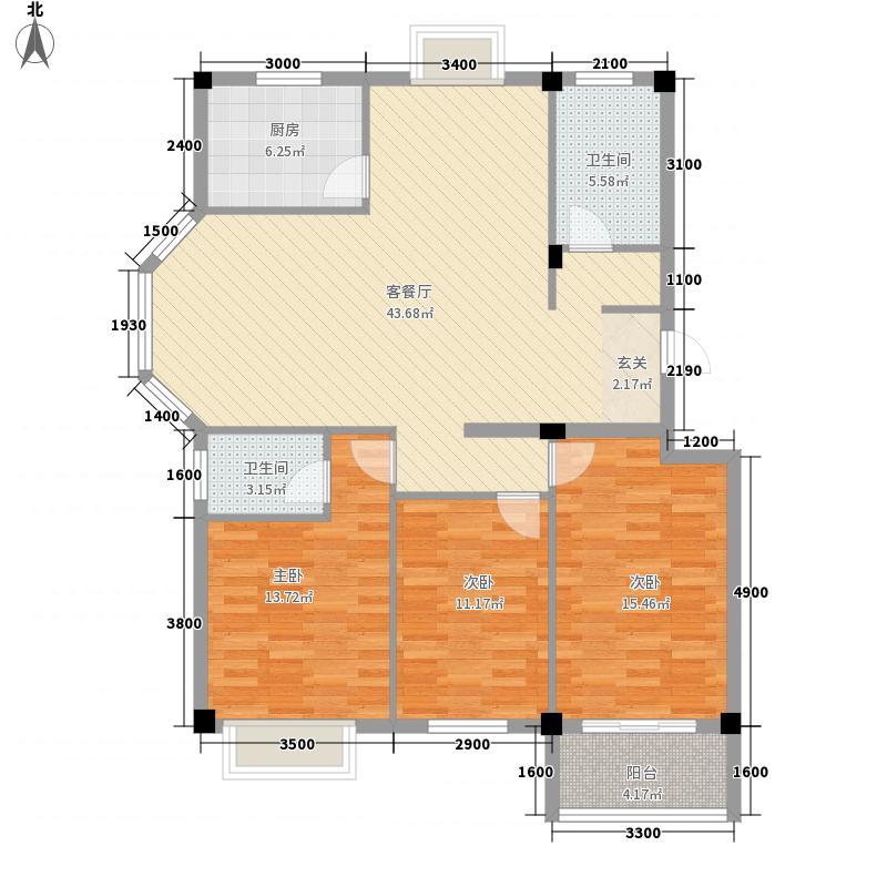 龙泽苑3室1厅2卫1厨143.00㎡户型图