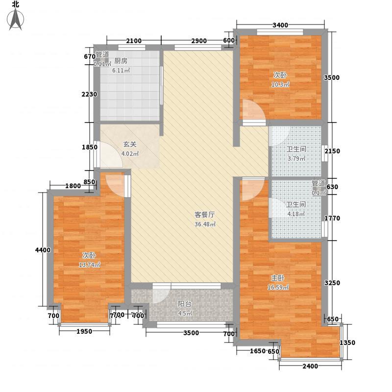 �阳新城3室1厅2卫1厨136.00㎡户型图