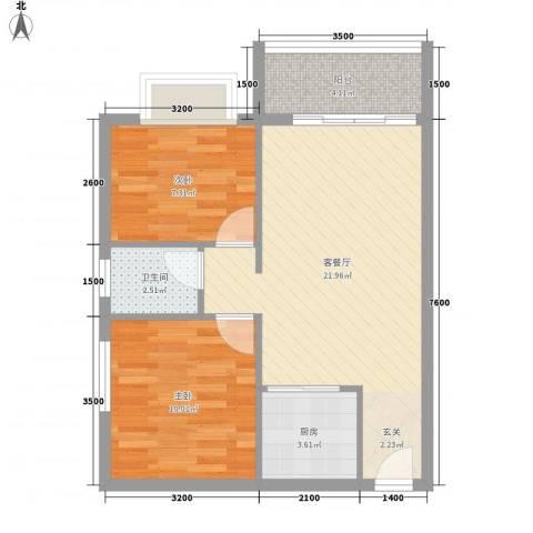 中铭君豪公寓2室1厅1卫1厨72.00㎡户型图