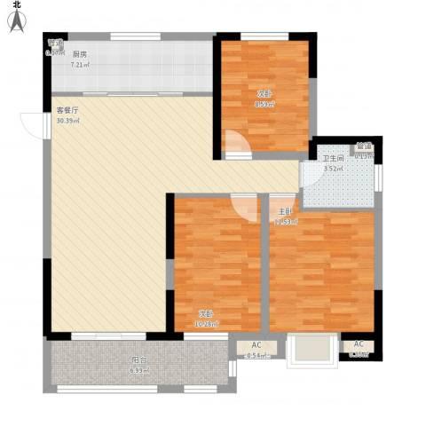 昌和水岸花城3室1厅1卫1厨114.00㎡户型图