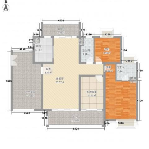 珠光御景湾2室1厅2卫1厨143.00㎡户型图