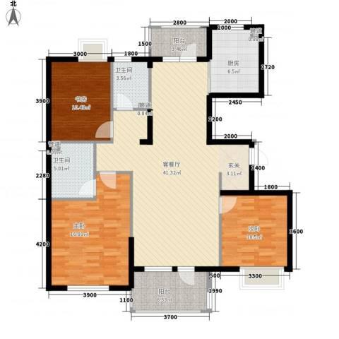 国信嘉园3室1厅2卫1厨146.00㎡户型图