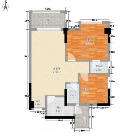 岭南名居2室1厅2卫1厨96.00㎡户型图