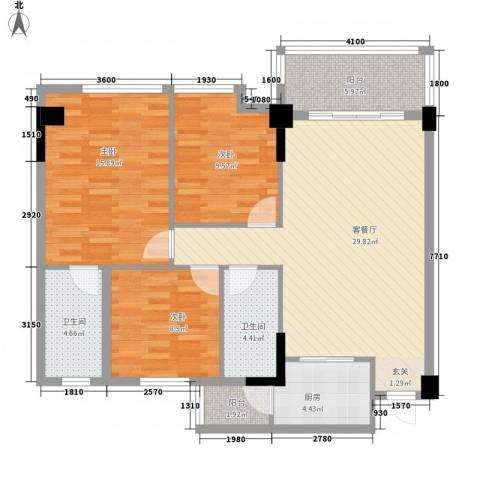 岭南名居3室1厅2卫1厨121.00㎡户型图