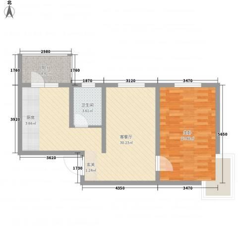 津港华府1室1厅1卫0厨74.00㎡户型图