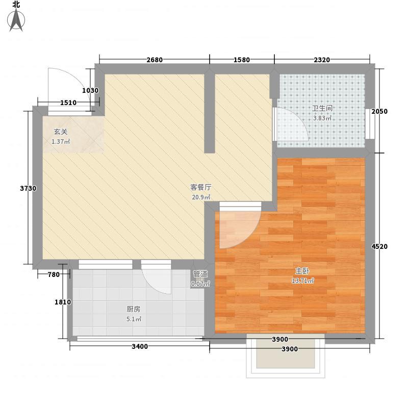 津港华府62.80㎡一期小高层标准层A户型1室1厅1卫1厨