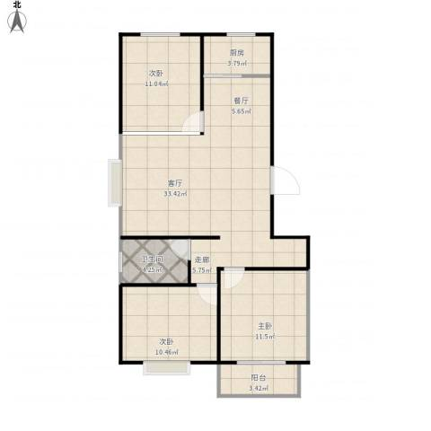 向阳雅园3室1厅1卫1厨105.00㎡户型图
