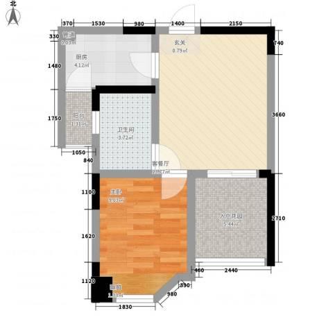 凯泰欧城1室1厅1卫1厨49.00㎡户型图