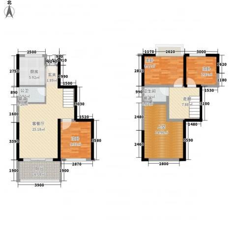 大东城3室1厅1卫1厨91.34㎡户型图