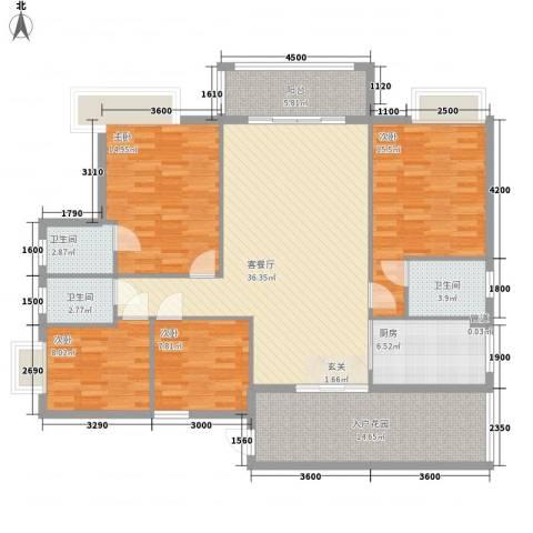 东海岸花园4室1厅3卫1厨137.00㎡户型图