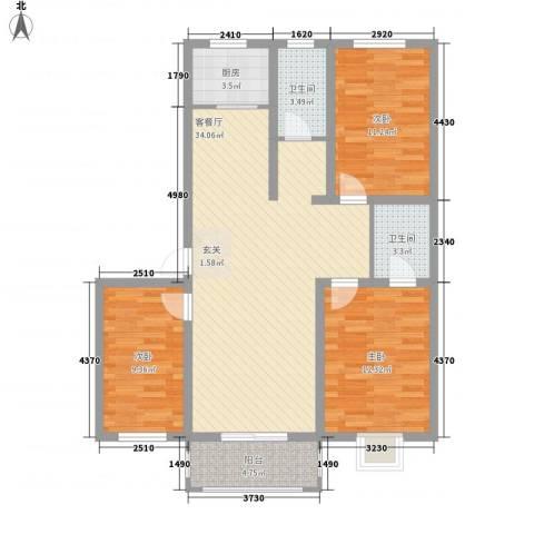 黄河明珠3室1厅2卫1厨94.00㎡户型图