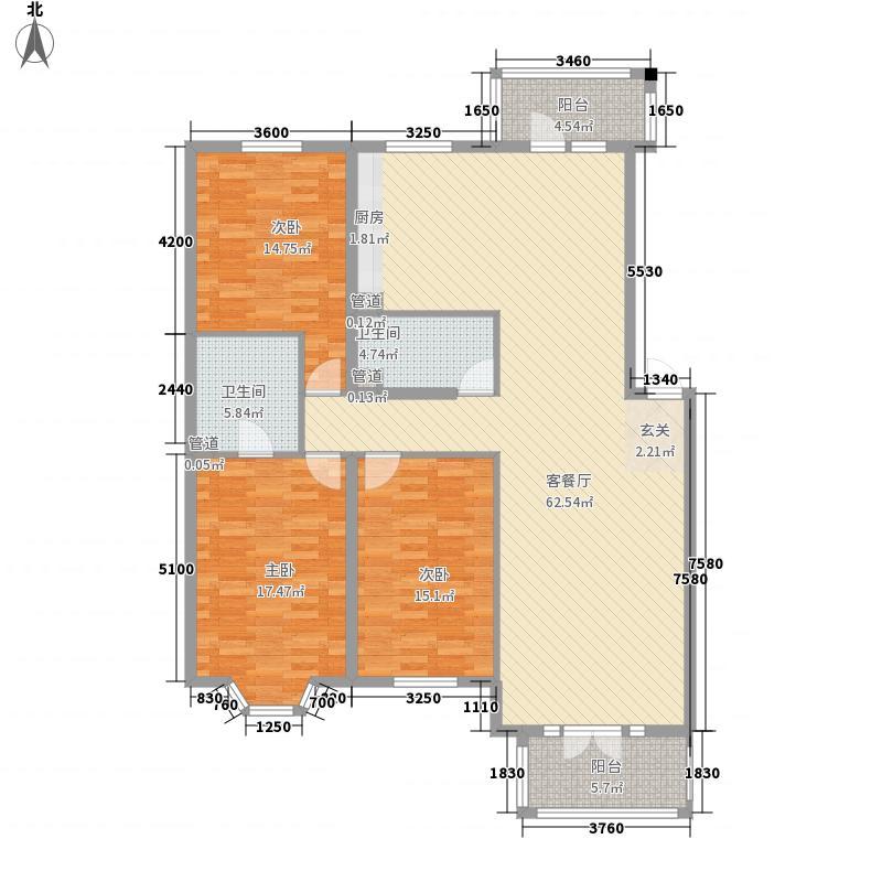 远大都市绿洲户型3室1厅1卫1厨